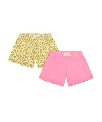 Mothercare Neon Fresh Pink And Yellow Allover Print Frill Shorts - 2 Pack