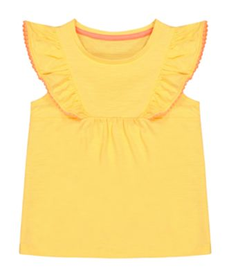 Mothercare Neon Fresh Yellow Pom Frill Jersey Blouse