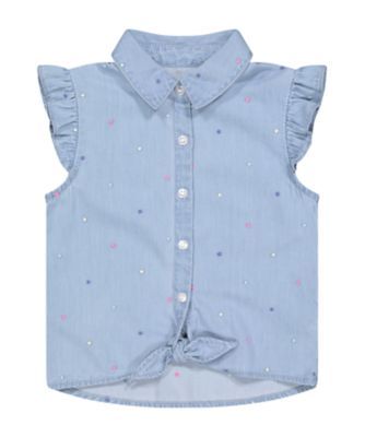Mothercare Neon Fresh Blue Dot Poplin Blouse
