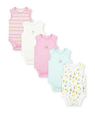 Mothercare Little Safari Summer Sleeveless Bodysuits - 5 Pack