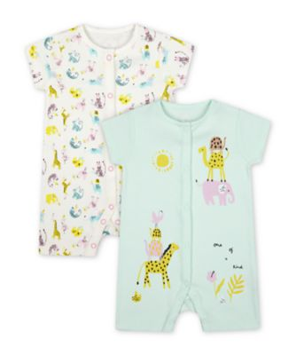 Mothercare Little Safari Summer Rompers - 2 Pack