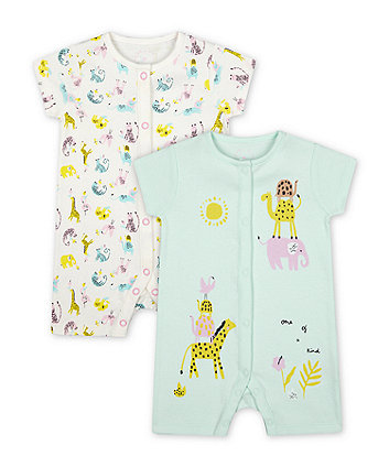 Mothercare Little Safari Rompers - 2 Pack