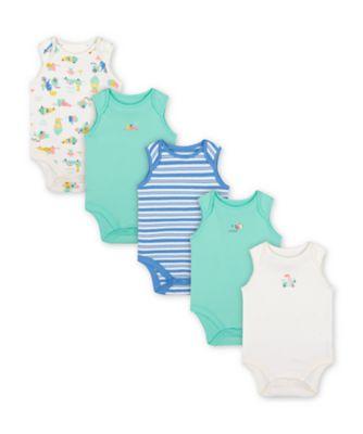 Mothercare Ice Cream Sleeveless Bodysuits - 5 Pack