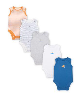 Mothercare Little Captain Sleeveless Bodysuits - 5 Pack