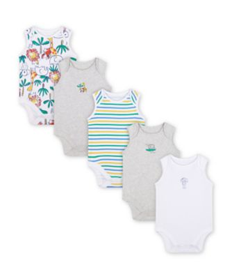 Mothercare Jungle Sleeveless Bodysuits - 5 Pack
