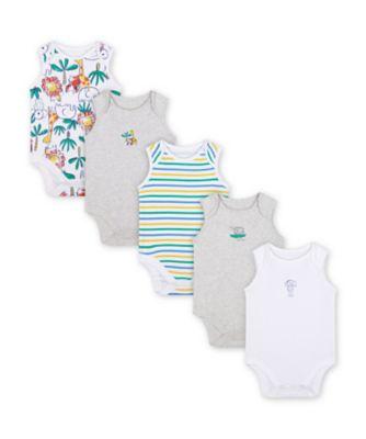 Mothercare Jungle Sleeveless Bodysuits - 5 Pack