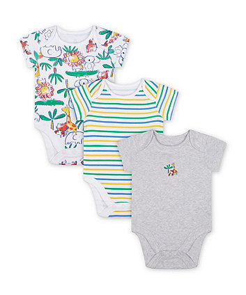 Mothercare Jungle Bodysuits - 3 Pack