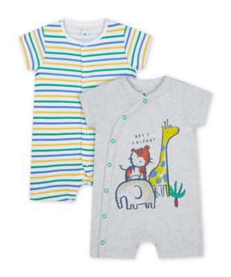 Mothercare Boys Jungle Rompers - 2 Pack