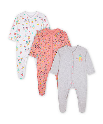 Mothercare Day Dreams Sleepsuits - 3 Pack