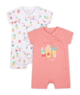 Mothercare Girls Fruit Day Dreams Rompers - 2 Pack