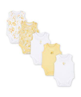 Mothercare Sweet Lemon Sleeveless Bodysuits - 5 Pack