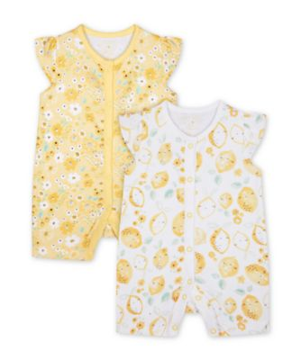 Mothercare Sweet Lemon And Floral Rompers - 2 Pack