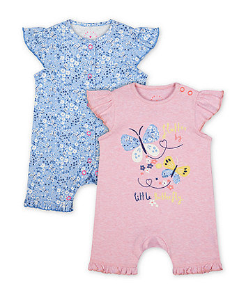 Mothercare Fashion Butterfly And Floral Rompers - 2 Pack
