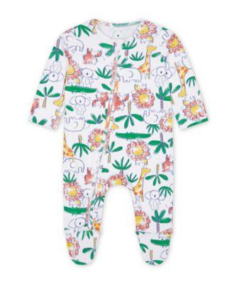 Mothercare Boys Jungle Zip Sleepsuits