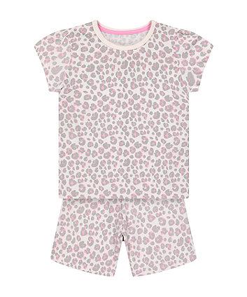 Mothercare Fashion Pink Leopard-Print Shortie Pyjamas