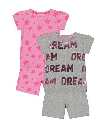 Mothercare Dream Star Shortie Pyjamas - 2 Pack