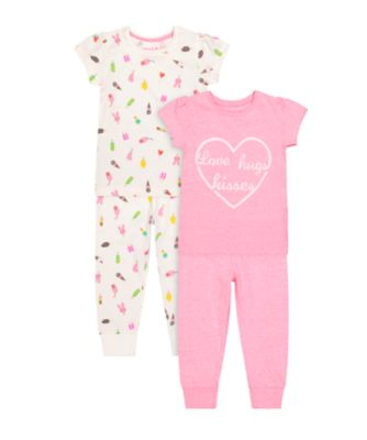 Mothercare Love And Hugs Short Sleeve And Long Leg Pyjamas - 2 Pack