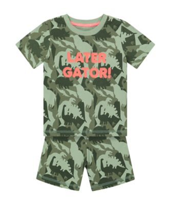 Mothercare Later Gator Dinosaur Shortie Pyjamas