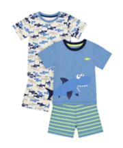 Mothercare Shark Shortie Pyjamas - 2 Pack