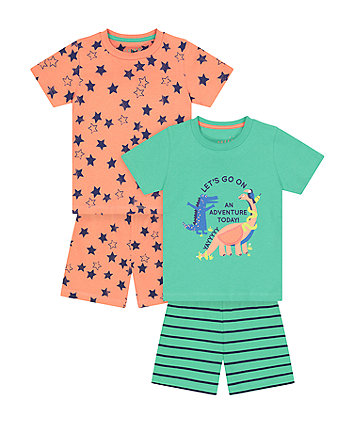 Mothercare Dino Adventure Shortie Pyjamas - 2 Pack