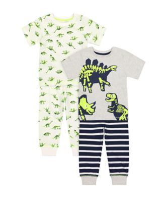 Mothercare Neon Dinosaur Short Sleeve Pyjamas - 2 Pack