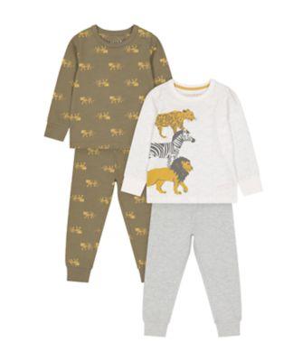 Mothercare Safari Long Sleeve Long Leg Pyjamas - 2 Pack