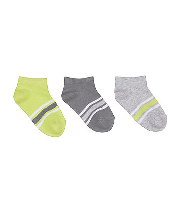 Mothercare Lime Striped Trainer Socks - 3 Pack