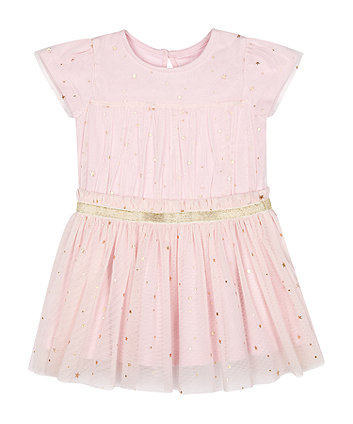 Mothercare Pink Star Mesh Dress