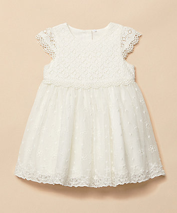 Mothercare White Lace And Mesh Occasion Dress