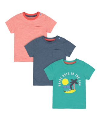 Mothercare Beach Life Green, Blue And Striped Happy Days Short Sleeve T-Shirts - 3 Pack