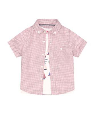 Mothercare Sailing Camp Gingham Short Sleeve Shirt And T-Shirt Set