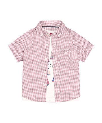 Mothercare Gingham Shirt And T-Shirt Set