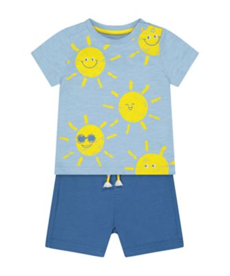 Mothercare Navy Pop Sunshine Short Sleeve T-Shirt And Shorts Set