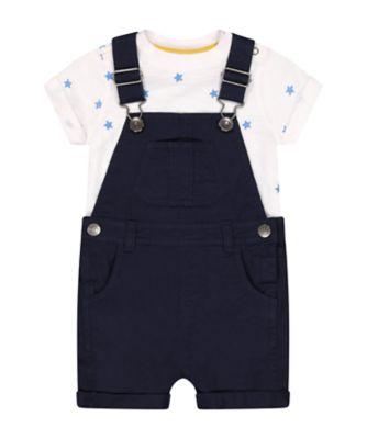 Mothercare Navy Pop Bibshort Set with Short Sleeve T- Shirt
