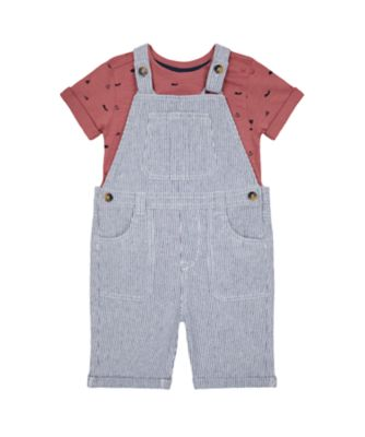 Mothercare Sailing Camp Textured Bibshort Set with Short Sleeve T-Shirt