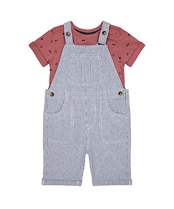 Mothercare Striped Bibshorts And T-Shirt Set