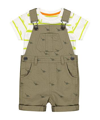 Mothercare Khaki Bibshorts And T-Shirt Set