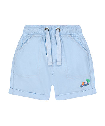Mothercare Blue Embroidered Poplin Shorts