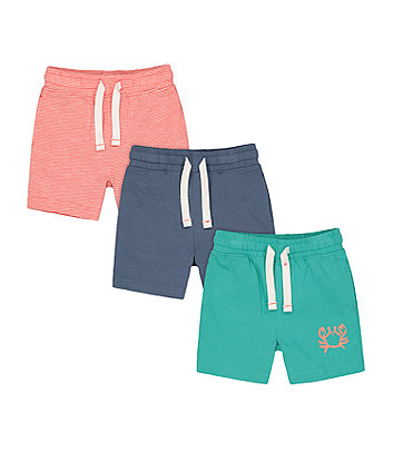 Mothercare Fashion Green, Blue And Striped Crab Shorts - 3 Pack