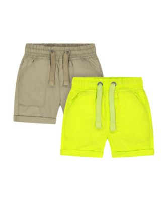 Mothercare Go Croco Poplin Lime And Khaki Shorts - 2 Pack