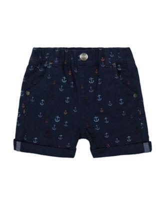 Mothercare Sailing Camp Navy Allover Print Anchor Shorts