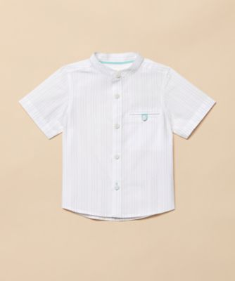 Mothercare Special Collection White Stripe Grandad Short Sleeve Shirt