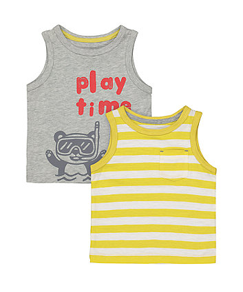 Mothercare Play Time And Stripe Vest T-Shirts - 2 Pack