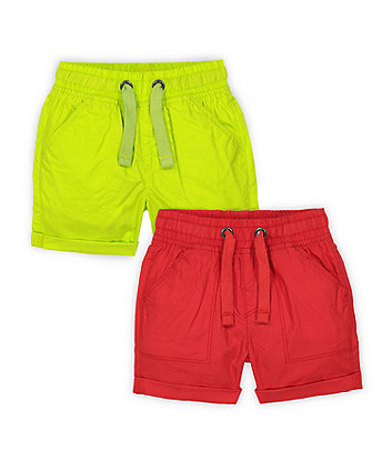 Mothercare Red And Green Shorts - 2 Pack