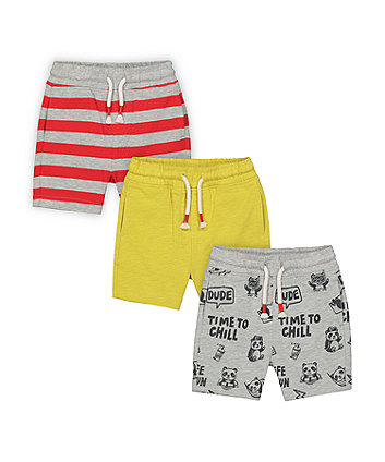 Mothercare Panda, Acid-Yellow And Striped Shorts - 3 Pack