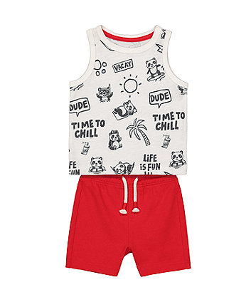 Mothercare Life Is Fun Vest And Shorts Set