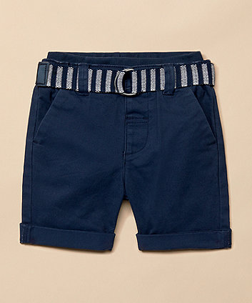 Mothercare Navy Twill Shorts With Belt