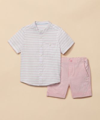 Mothercare Special Collection Pink Stripe Shirt And Shorts Set