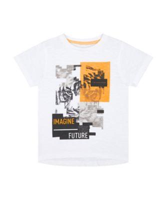Mothercare Urban Tropics White Pixel Tiger Face Short Sleeve T-Shirt