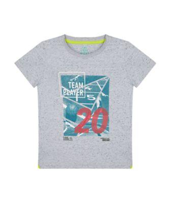 Mothercare Sport Pop Grey Marl Team Player Short Sleeve T-Shirt